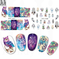 1 sheet New Halloween Night Owl Campanula Pattern Sticker Water Transfer Nail Art Stickers Nails Care Decals STZ437-438