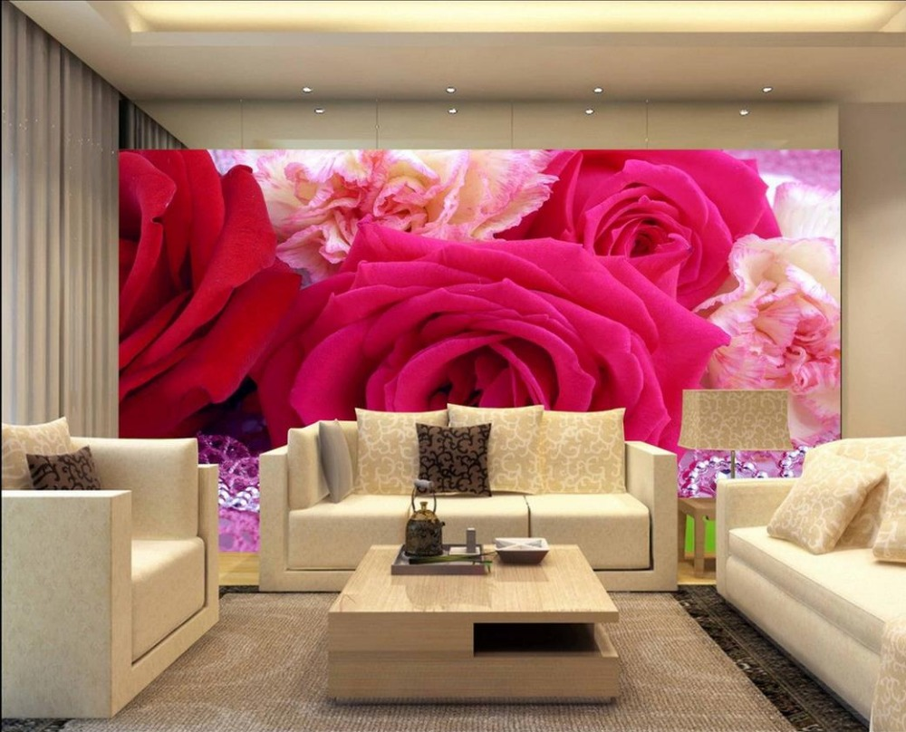 Fashion hd rose custom photo wallpaper 3d stereoscopic for 3d photo wallpaper for living room