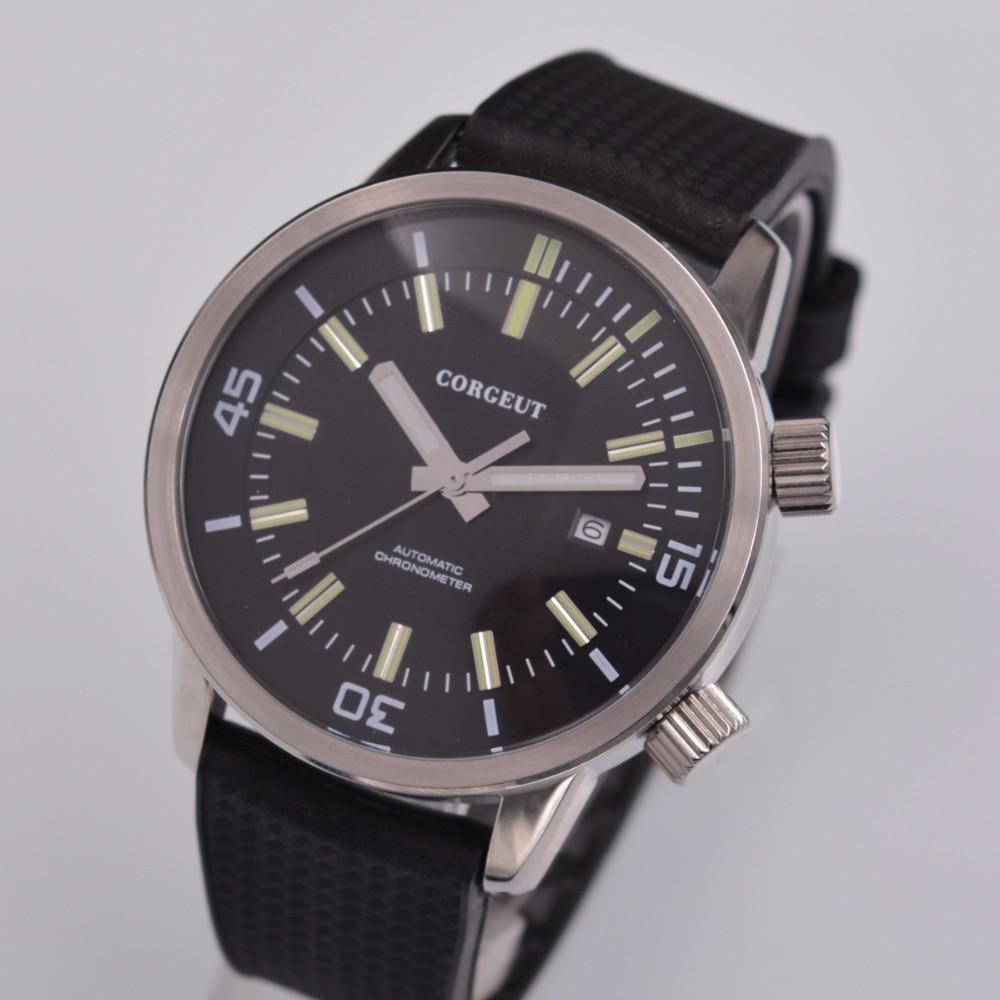 44 5mm corgeut luxury top brand reloj hombre 2018 Rubber Straps Seagull Mechanical clock Men Automatic