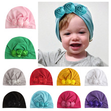 Yundfly Infant Newborn Caps with Rose Flowers Cotton Blend Kont Turban Girls Stretchy Beanie Hat Head Wear Baby Hair Accessories