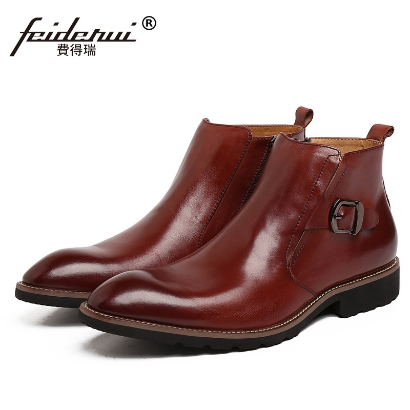Fashion Business Man Ankle Boots Top Quality Genuine Leather Cow Luxury Brand Men's Round Toe Martin Motorcycle Flat Shoes GK92 new arrival luxury man casual shoes genuine leather cow comfortable loafers round toe designer brand men s business flats gd20