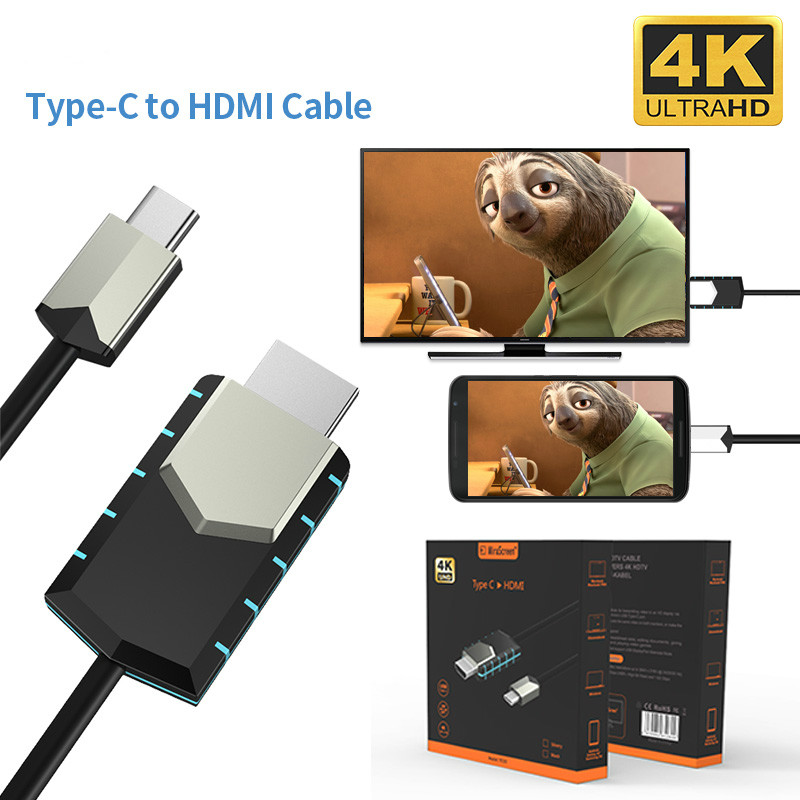 Newest Full-HD Mirscreen New Cable TC03 Type-C to 4K HDMI Cable  Instant Projection Connect Cell Phone to TV GPS Navigation
