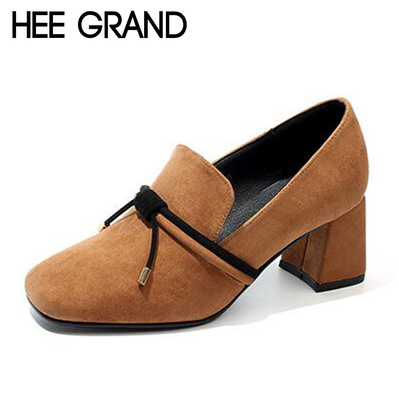 HEE GRAND Women Thick Heel Pumps Women Causal Shoes Slip on for the Sexy Ladias Working Days Fashion Shoes Women Heels XWD6391