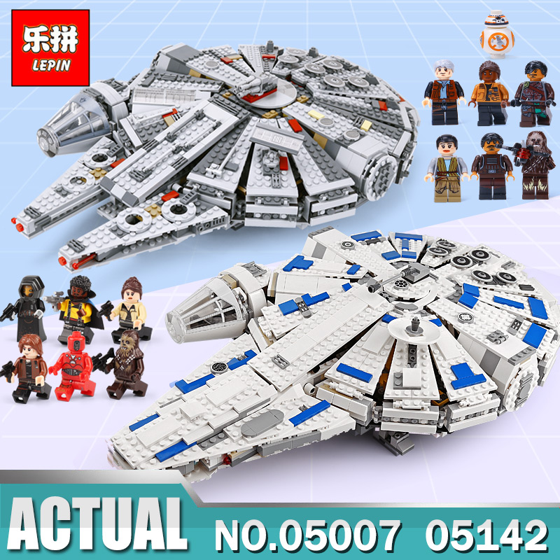 DHL IN Stock Lepin 05007 05142 Star Force Awakens Millennium Falcon Toy Building Kit Set Kids Toy Compatible Legoing 75105 75212 dhl lepin 05142 star building blocks force toy awakens millennium kids toys falcon model legoings 75212 birthday christmas gifts