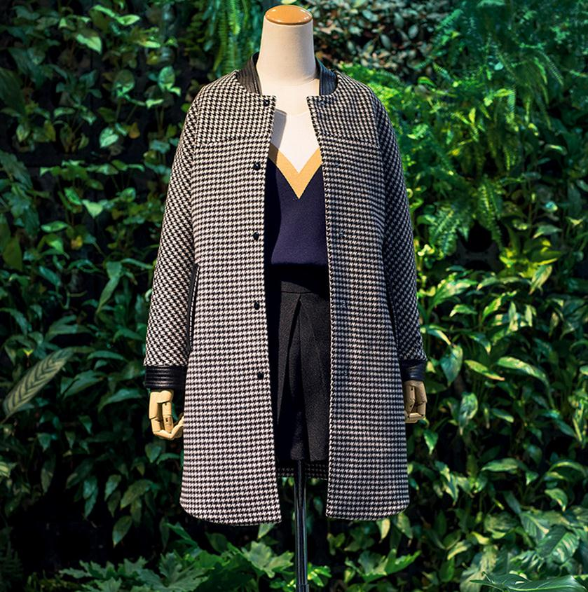 2019 Laine Long Unique Veste Et De Mode Wj972 Gros Femmes Manteau Automne Couture Marque Plaid Pu En Poitrine Hiver znPBZrqFWz