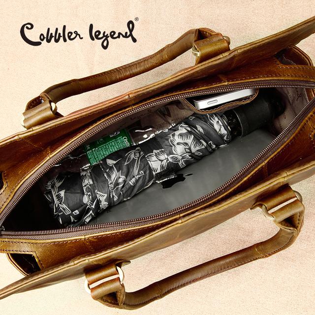 Cobbler Legend New Arrival Genuine Leather Women's Handbags Ladies Brown Cowhide Tote Bag Satchel Briefcase Women Messenger Bags