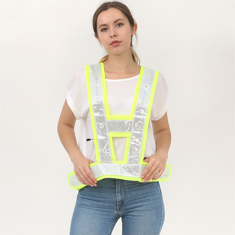 Image 3 - High Visibility LED Light Up Safety Reflective Vest Night Safety Warning Clothing Traffic led Safety Vest Reflective t shirt-in Safety Clothing from Security & Protection