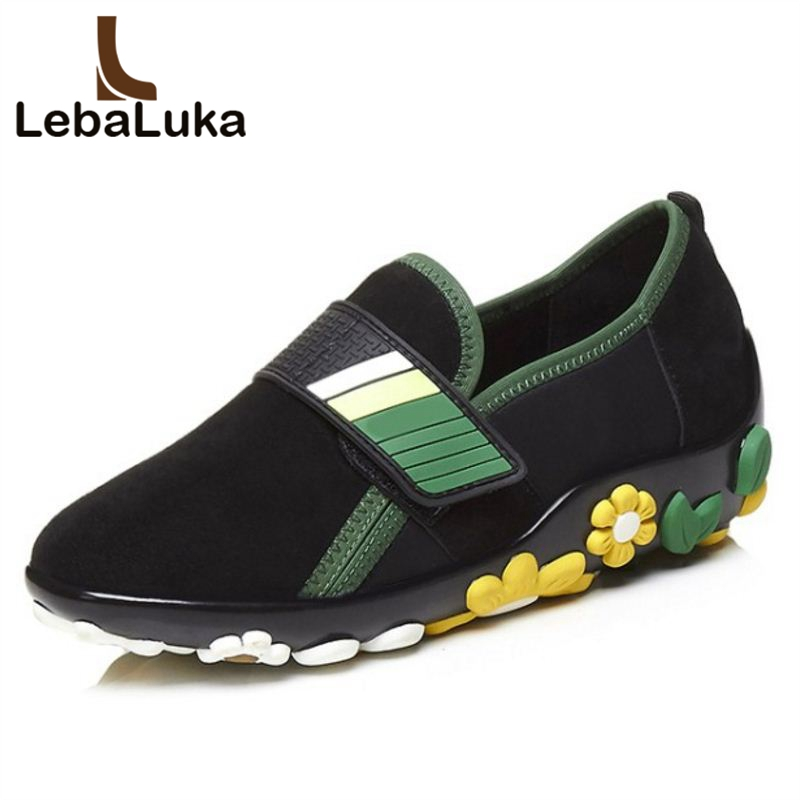 LebaLuka Brand Quality Loafers Women Real Genuine Leather Flats Shoes Flower Vintage Shoes Round Toe Women Footwears Size 34-39 female flats shoes women cross strap embroidery flower flat shoe round toe office ladies students leisure footwears size 35 39