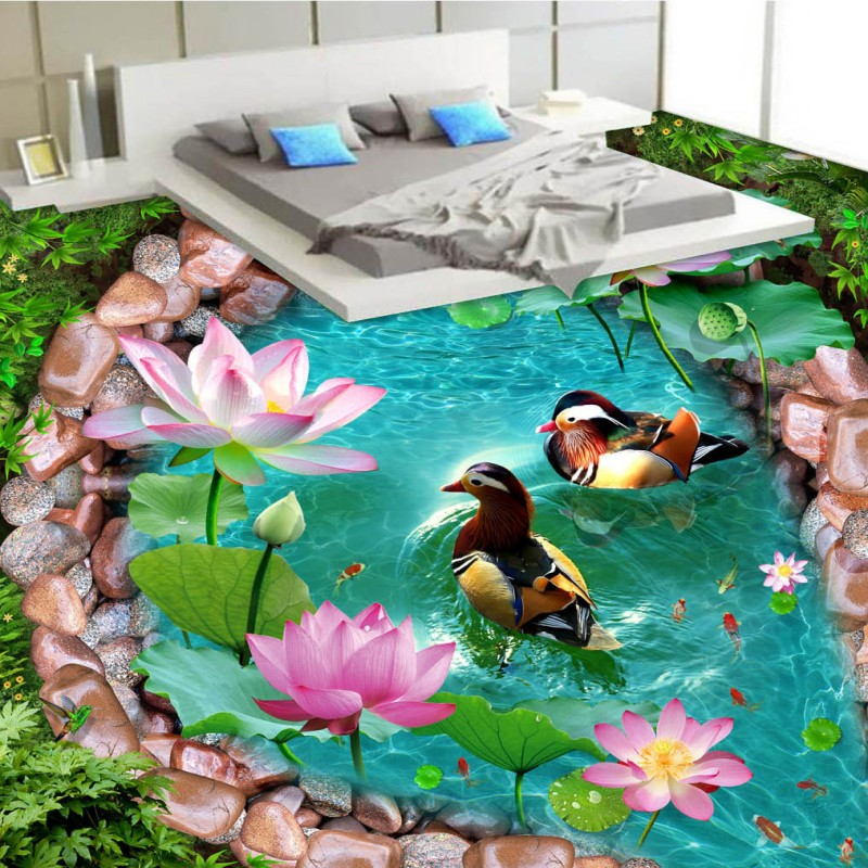 Free Shipping Pool water mandarin duck lotus 3D floor thickened wear non-slip living room kitchen mall bathroom flooring mural free shipping realistic large pond carp floor 3d wear non slip thickened kitchen living room bathroom flooring wallpaper mural