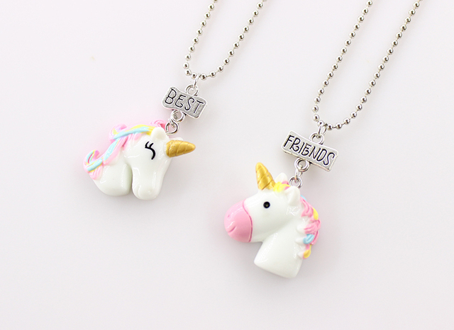 2Pcs/Set Unicorn Pendant Necklaces Chain For Children