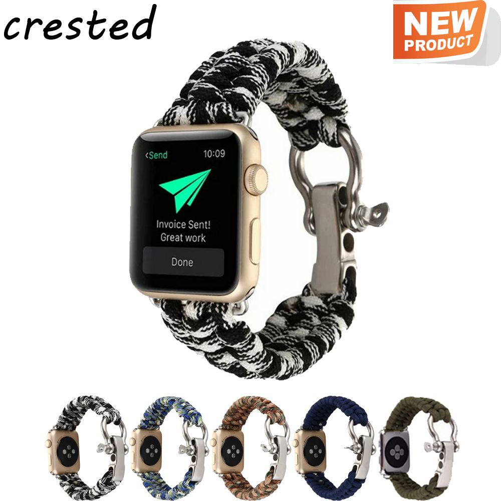 CRESTED Woven Rope Watch strap for Apple Watch band 42mm 38mm Survival Outdoors Nylon Strap with Whistle for iwatch 3/2/1 black