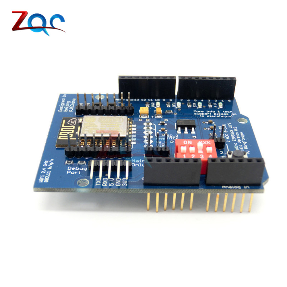 ESP8266 ESP-12E UART WIFI Wireless Shield Development Board Module For Arduino UNO R3 Mega 3.3V Support TTL UAR Stacking Design nano uno shield adapter nano development board for arduino
