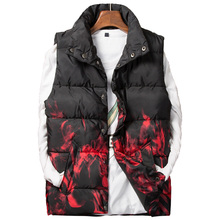 Zozowang men print stand collar shout single breasted autumn winter vest fashion keep warm loose waist coat