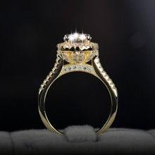 2017 new fasion jewelry real 925 sterling silver ring Gold Color Classic engagement wedding rings AAAAA Cubic zircon for women
