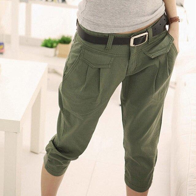 35fb57b6345b03 Wangcangli Marka kobiety Wojskowe Bojówki Multi-kieszenie Workowate Spodnie  damskie Spodnie Na Co Dzień Spodnie