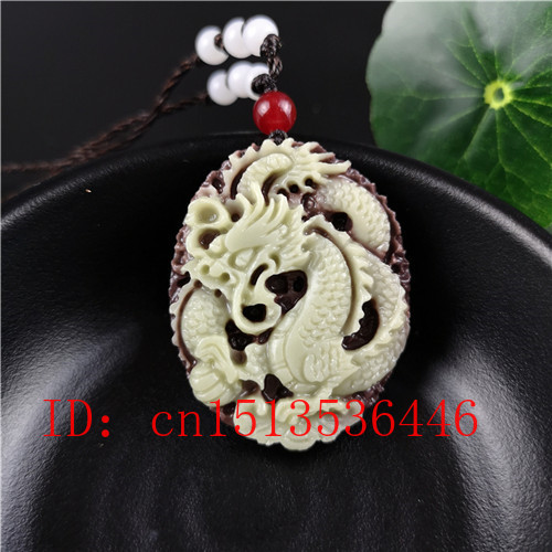 Natural Jade Dragon Pendant Beads Necklace Charm Jewellery Fashion Accessories Hand-Carved Man Lucky Amulet Gifts