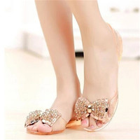 Women Sandals Summer Style Bling Bowtie Jelly Shoes Woman Casual Peep Toe Sandal Crystal Flat Shoes