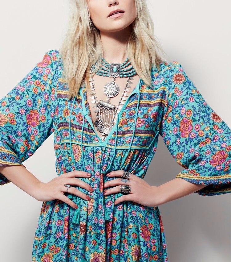 Bohemia Largo Vestido de Las Mujeres de Mitad de la Pantorrilla Imprimir Popular