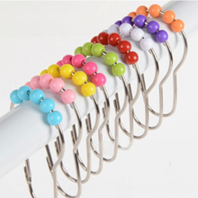 12Pcs Stainless Steel Color Acrylic Roller Ball Heightening Shower Curtain Rings Hooks Glide Home Bathroom Accessories