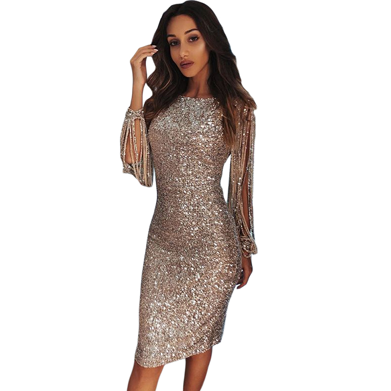 86cddc41e96 Évider Soirée Femmes 2019 Longues Printemps Festa Robe Partie Manches  Sequin Moulante noir Champagne Robes argent ...