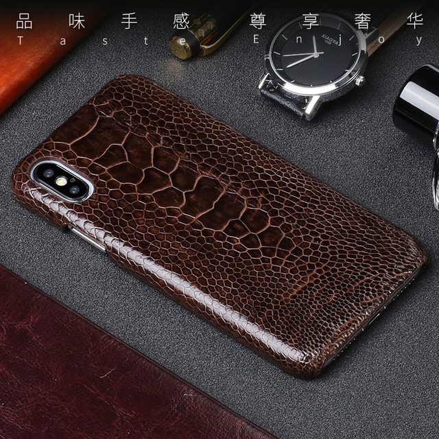 size 40 d5097 a7f9a US $76.82 8% OFF Genuine Leather phone case For iPhone X case Natural  Ostrich Foot Skin phone shell For iPhone SE 5 5S 6 6S 7 8 Plus X cover-in  Fitted ...