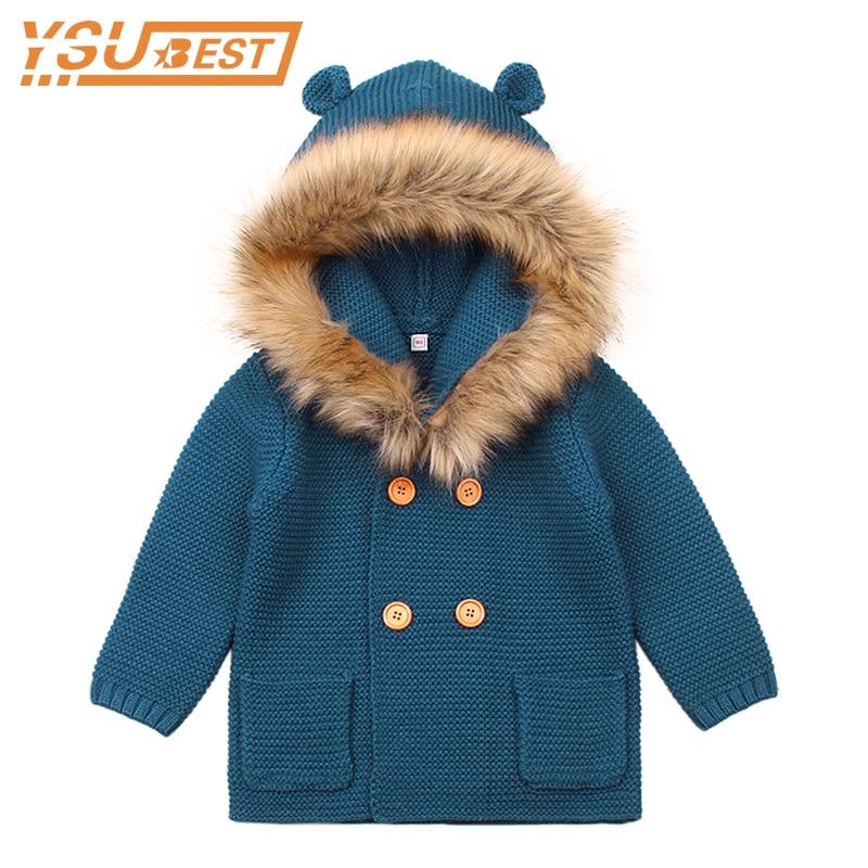 100% QualitäT 2019 Winter Warme Neugeborenen Baby Pullover Pelz Kapuze Abnehmbare Grau Infant Jungen Mädchen Strickjacke Herbst Outwear Kinder Strickwaren