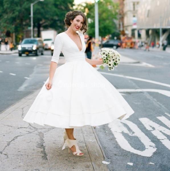 Vintage 50s Tea Length Wedding Dresses 2019 Deep V Neck Half Sleeve Ball Gown Satin Garden Country Bridal Gowns Vestido De Novi