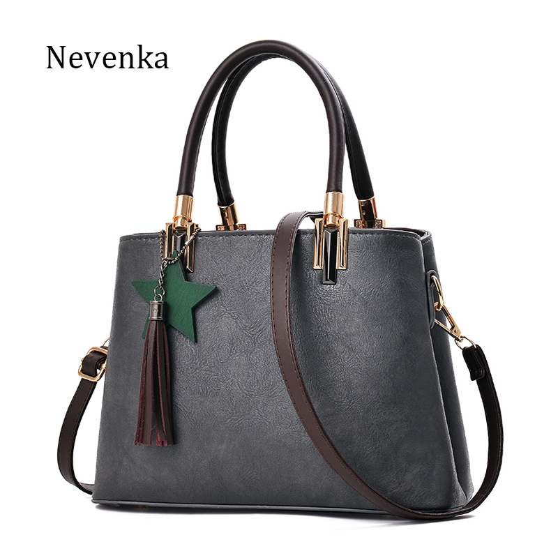 NEVENKA New Tassel Handbag Women Fashion Soild Color Shoulder Bag Female Casual Daily Shipping Bags Large Capacity Message Bag yuanyu 2018 new hot free shipping python skin women handbag single shoulder bag inclined female bag serpentine women bag