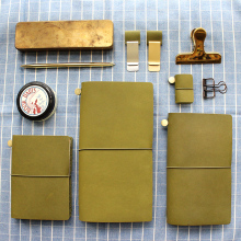 Fromthenon Vintage Notebook Diary Olive Green Leather Planner 2019 Agenda Retro Pen Holder Clip For Midori Travelers
