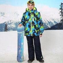 b09691942db Índice impermeable 15000mm abrigo cálido traje de esquí a prueba de viento  niños Chaquetas niños conjuntos