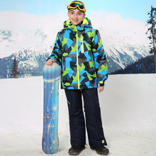 For -30 Degree Warm Coat Sporty Ski Suit Waterproof Windproof Boys Jackets Kids Clothes Sets Children Outerwear For 3-16T недорого