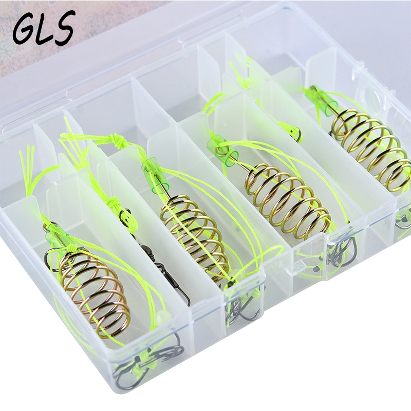 Fishhooks Fast Deliver Fishing Hook For Fishing 4 Pc Fishing Feeder Bomb Proof Hanging Explosion Hook Fish Bait Plastic Box Packing Combination