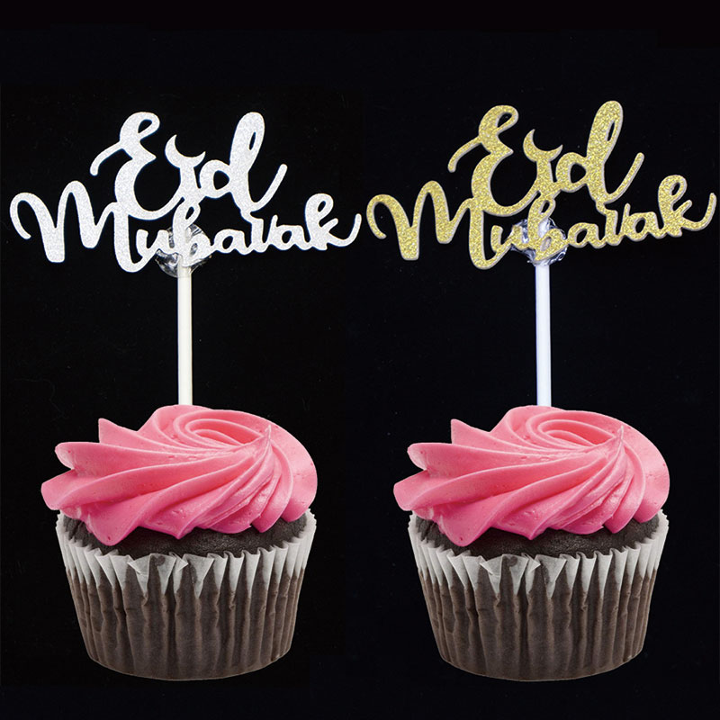 EID MUBARAK 20pcs happy Eid Mubarak cupcake toppers, Gold Silver Muslim Hajj Mubarak party decoration, food treat fruit picks