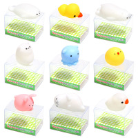 9PCS Set New Original Japan Animal Mochi Squeeze Stretchy Kawaii Decompress Squishy With Box Phone Strap