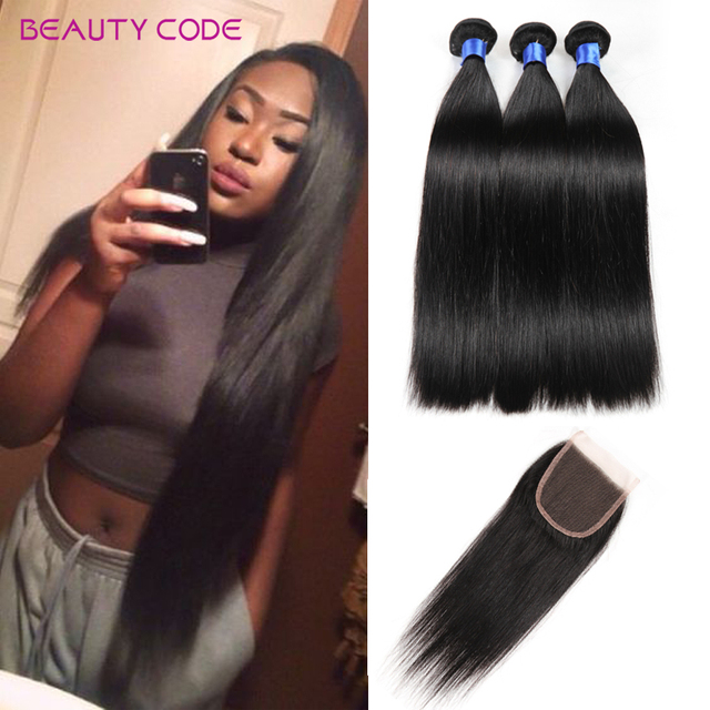 Brazilian Virgin Hair With Closure Grade 8A Unprocessed Brazilian Straight Human Hair Weave With Closure 3 Bundles With Closure