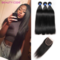 Malaysian Virgin Hair With Closure Grade 8A Unprocessed Malaysian Straight Human Hair Weave With Closure 3 Bundles With Closure
