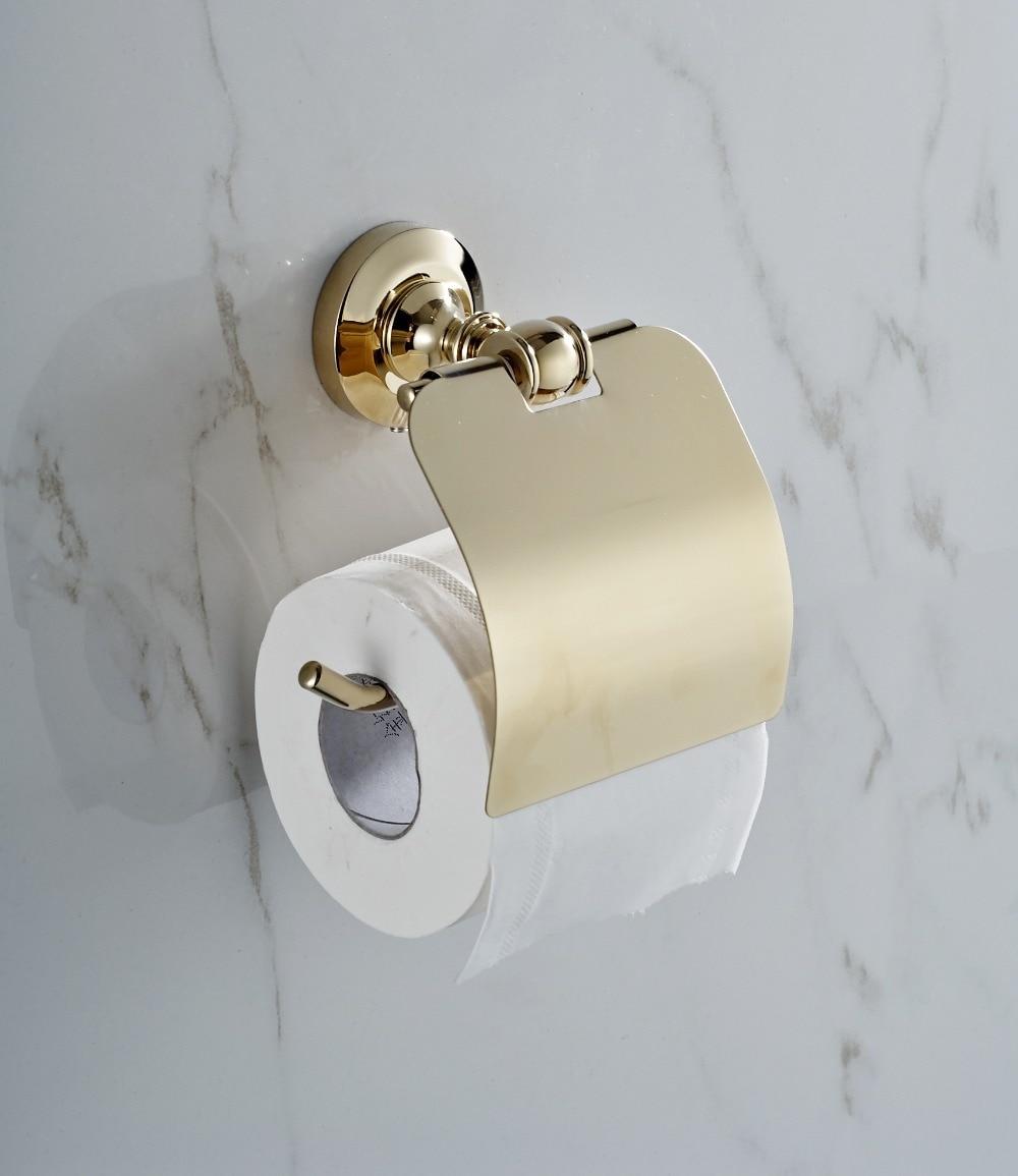 GOLDEN Copper Toilet Paper Holder Paper Rack Gold Plated Towel Rack ...