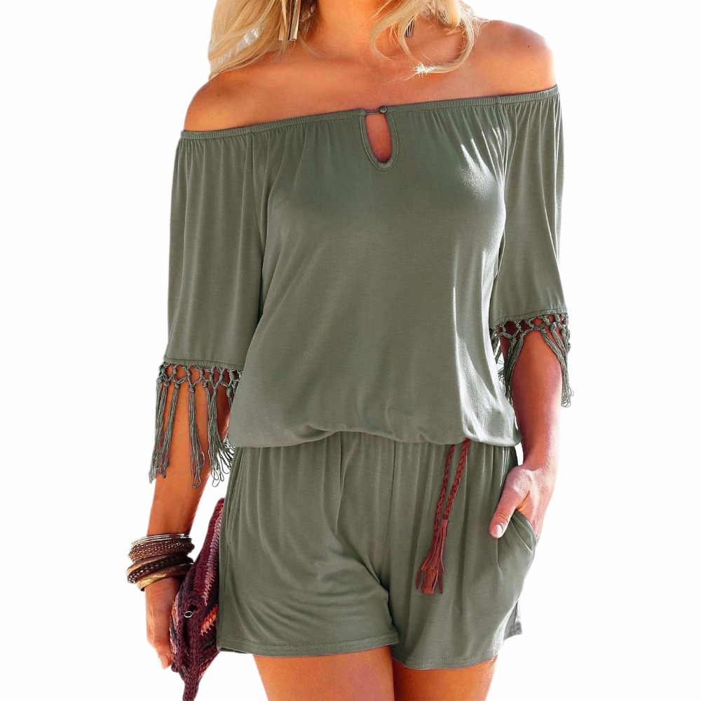 Women Summer Playsuits Slash Neck Tassel Female Beach Boho Short   Jumpsuits   Overalls Girls Pockets Rompers Plus Size GV923