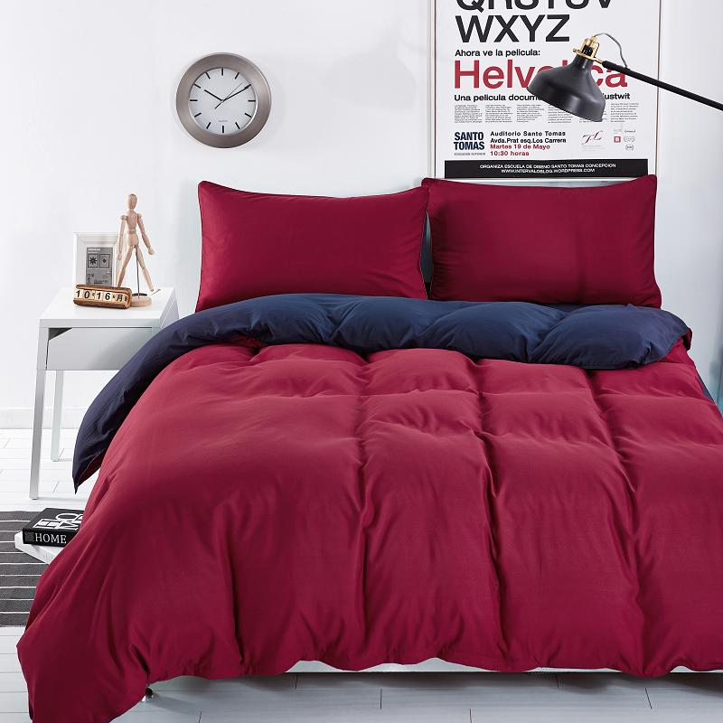 xinlanisnow bedding sets solid wine red deep purple striped bed sheet duver quilt cover pillowcase soft - Striped Sheets