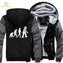 HAMPSON LANQE The Big Bang Theory Robot Evolution Print Hoodies Men 2019 Hot Winter Warm Mens Coat Fleece Plus Size Sweatshirts