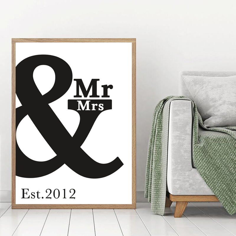 Custom anniversary print wall art poster decor painting personalized poster paintings mr mrs canvas art