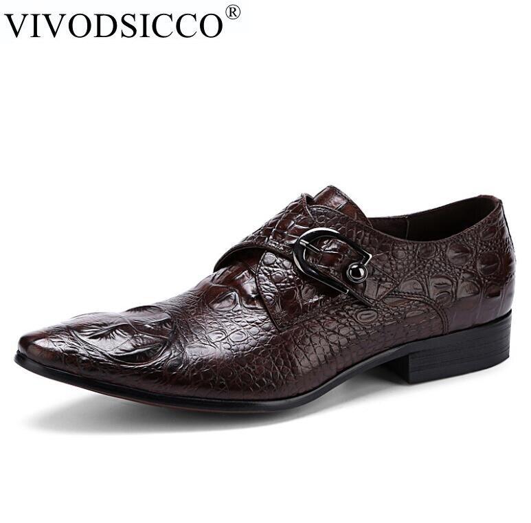 Здесь можно купить  VIVODSICCO Genuine Leather Men Formal Shoes Party Pointed Toe Dressy Weddings Buckle Strap Men Dress Shoes zapatos vestir hombre  Обувь