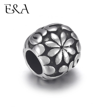 4pcs Stainless Steel Bead Charms Floral 5mm Hole for Leather Jewelry Bracelet Making Metal European Beads DIY Supplies Parts