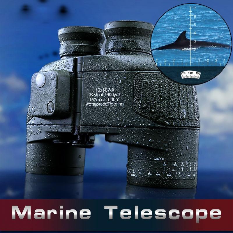 2016 Nytt 10x50 kikokulärt teleskop Långdistansfrekvensomriktare Kompass Professional Teleskop Vattentätt kväve Kraftfull kikare
