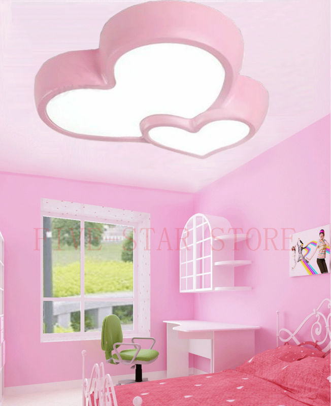 W W W Pink Blue Modern Romantic Love Heart LED Ceiling Light - Light fixtures for girl bedroom