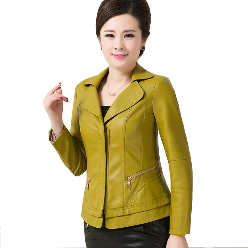 6xl Spring Autumn Women Jacket 2017 Fashion Slim Short Coat Long Sleeve Leather Pockets Zipper Turn