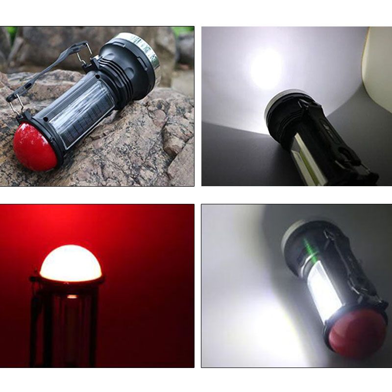 Portable 2 in 1 Led Flashlight Solar Power Rechargeable Tactical LED Flash Lights Hand Lamp Camping Torch Fishing Lantern Light