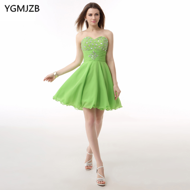 Green   Cocktail     Dresses   2019 A Line Sweetheart Off The Shoulder Bling Beaded Crystal Chiffon Backless Short Homecoming   Dress