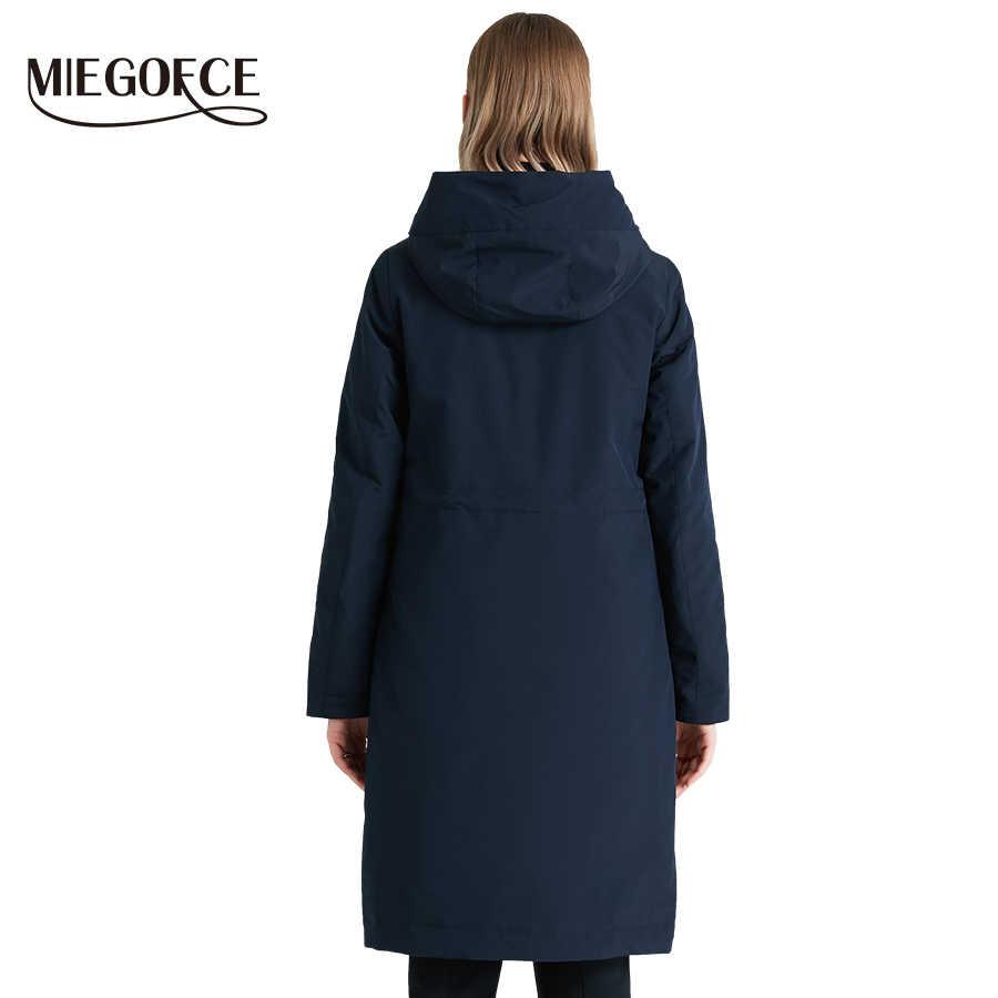 MIEOGOFCE 2019 春と秋ロング女性のウインドブレーカーウォーム女性の綿のジャケットスタンドカラーの新デザイン