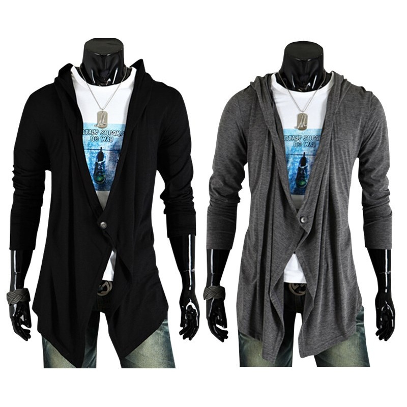 New Collection Asymmetrical Button Casual Long Sleeve Cardigan Men's Fashion Slim Sweater Cotton Soft Comfortable Jacket